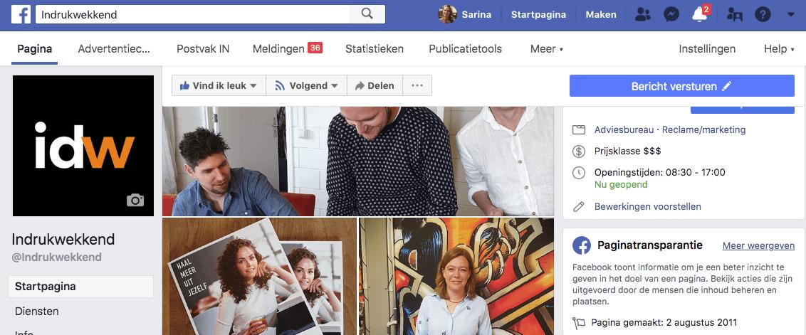 facebook paginatransparantie