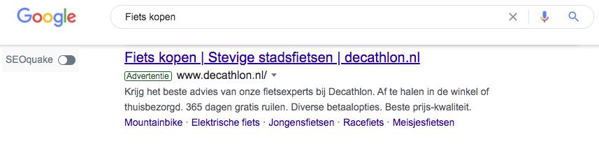 voorbeeld van een google advertentie