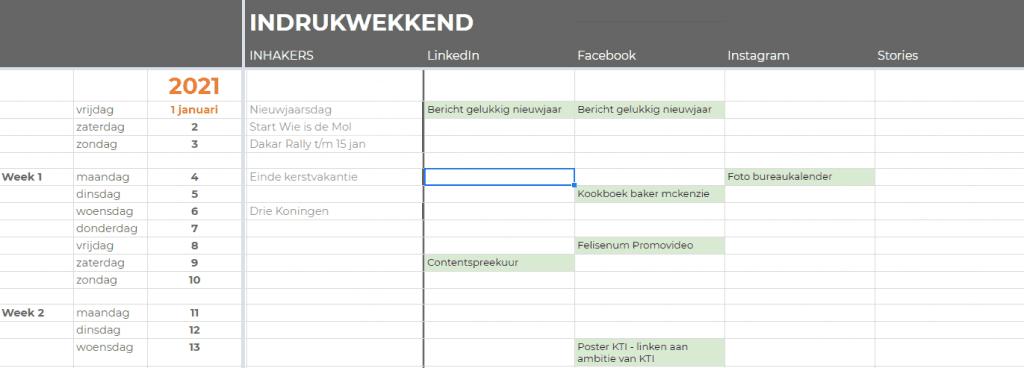 Voorbeeld contentkalender Indrukwekkend